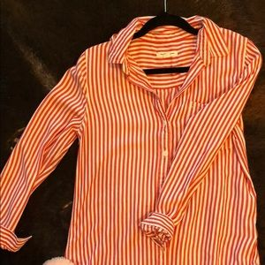 Striped red button up. Cozy shirt